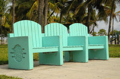 Colorful South Beach Bench Stock Images