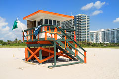 Colorful South Beach lifeguard hut Stock Photography