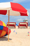 Colorful South Beach Umbrella and Cabanas Royalty Free Stock Image