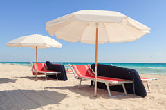 Colorful South Beach Umbrellas and Lounge Chairs Royalty Free Stock Photo