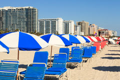 Colorful South Beach Umbrellas and Lounge Chairs Stock Photography