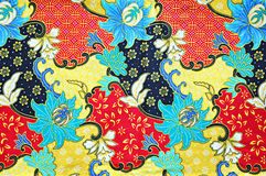 Colorful Southeast asian style batik fabric texture Royalty Free Stock Images