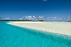 Aitutaki, Cook Islands. Colorful Southern Pacific with flooded sandbar and small islands - islands of ones dreams - Aitutaki, Cook Islands royalty free stock image