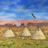 Colorful SouthWestern Native American painting illustration. Colorful SouthWestern Native American Scene with tepees, eagle and blue sky sunset Stock Images