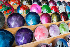 Colorful Souvenier Bowls at Market in Thailand Royalty Free Stock Photos
