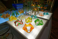 Colorful souverirs made of glass at the Christmas market Stock Images