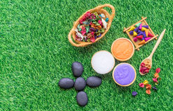 Colorful spa objects flat lay on green grass. Copy space Royalty Free Stock Image