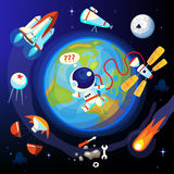 Colorful space and Earth icons Stock Images