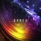 Colorful Space Galaxy Background with Shining Stock Image
