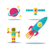 Colorful space icons set Stock Photography