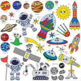 Colorful Space Kid set, the collection of coloring book template, the group of outline digital elements. Colorful Space Kid elements set, collection of coloring Stock Photo