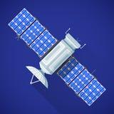Colorful space satellite broadcast antenna illustration. Vector color flat design satellite broadcast module antenna solar panels illustration long shadow blue stock illustration