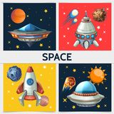Colorful Space Square Composition. With rocket spaceship ufo sun planets asteroids meteors comets on cosmic background in cartoon style vector illustration Royalty Free Stock Photos