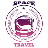Colorful space travel label design with astronaut in spacesuit isolated on white Royalty Free Stock Photo