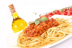 Colorful spaghetti bolognese Royalty Free Stock Photography