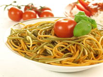 Colorful spaghetti, closeup Stock Photo