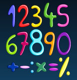 Colorful spaghetti numbers. And math signs set Stock Photos