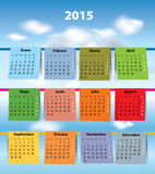 Colorful Spanish calendar for 2015 Royalty Free Stock Photos