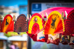 Colorful Spanish Fans arranged for sale in a store Stock Photography