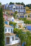 Colorful Spanish Pueblo On Hillside Stock Images
