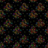Colorful Sparkler on dark background. Seamless pattern of colorful Sparkler on dark background Stock Photos