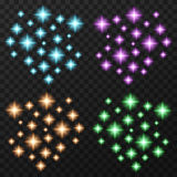 Colorful sparkles set Royalty Free Stock Images
