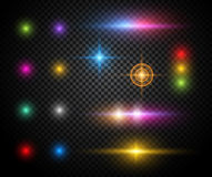 Colorful sparkles vector light effects set Royalty Free Stock Photo