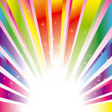 Colorful sparkling burst background with stars. An abstract colorful sparkling burst rays with glitter stars Stock Photo