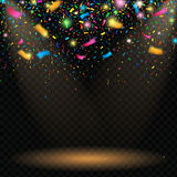 Colorful sparkling confetti with blurred elements on black background with spotlight. Vector royalty free illustration