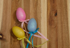 Colorful sparkling pastel Easter eggs Royalty Free Stock Photos