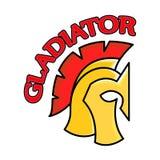 Colorful Spartan Helmet with inscription Gladiator. Greek or Roman warrior - Gladiator, legionnaire soldier. Colorful Spartan Helmet with inscription Gladiator Royalty Free Stock Image