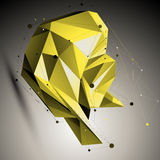 Colorful spatial technological shape, polygonal wireframe object Stock Photography
