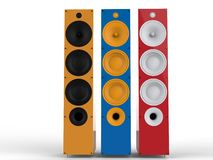 Colorful speakers - front view Stock Image