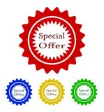 Colorful special offer tag design, stock vector illustration. Eps 10 Royalty Free Stock Photos
