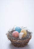 Colorful speckled eggs Stock Photo