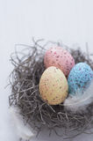 Colorful speckled eggs Royalty Free Stock Image