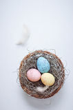 Colorful speckled eggs Royalty Free Stock Photography
