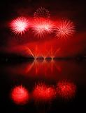 Colorful spectacular fireworks with reflections Stock Photography