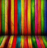 Colorful spectral wooden room Stock Image
