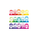 Colorful spectrum collection of abstract avatar faces portraits icon set Stock Images
