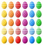 Colorful spectrum of Easter eggs for Easter holidays. High quality vector eggs isolated on white background. Beautiful Easter eggs collection. Various patterns vector illustration