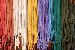 Colorful spectrum of leather and textile strings Royalty Free Stock Images