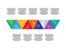Colorful spectrum rainbow geometric triangular presentation infographic diagram chart. Vector graphic template. Royalty Free Stock Photography