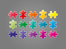 Colorful spectrum rainbow puzzle pieces collection. Stock Images