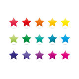 Colorful spectrum rainbow star shape icons isolated on white background Stock Photos