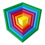 Colorful spectrum vector cube design, isolatedon w Stock Image