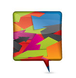 Colorful speech bubble filled with origami arrows Stock Photography