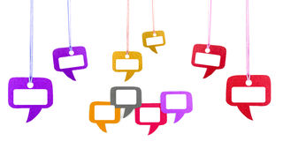 Colorful speech bubble hanging on white Royalty Free Stock Image