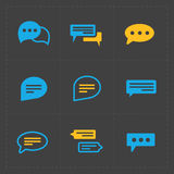 Colorful Speech bubble icons on black background. Vector illustr Stock Photography