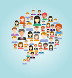 Colorful speech bubble made of people. A colorful speech bubble made of different types of people. Social media, communication, network, unity, and diversity Stock Images